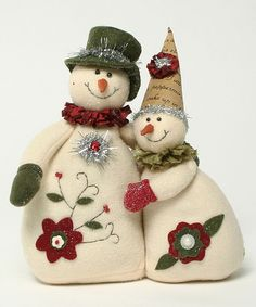 look what i found on zulily flower snowmen couple figurine by ziabella zulilyfinds - PIPicStats Felt Snowman, Snowman Crafts, Christmas Projects, Felt Crafts, Holiday Crafts, Snowmen, Felt Christmas Ornaments, Christmas Snowman, Christmas Decorations