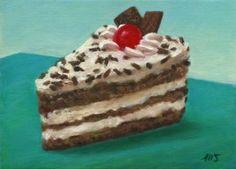 "Saatchi Art Artist Marion Stephan; Painting, ""Ein Stück Sahnetorte"" #art, #marionstephanfineart, #cakepainting, #cake"