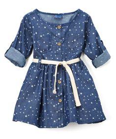 Look at this #zulilyfind! Dark Blue Denim Star Button-Up Dress - Infant & Toddler #zulilyfinds