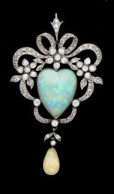 An opal and diamond Belle Epoque brooch-pendant, ca.1890.
