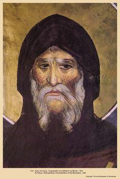 Icon014 Byzantine Icons, Byzantine Art, Anthony The Great, Biblical Art, Orthodox Icons, Sacred Art, Christian Art, Illuminated Manuscript, Black History