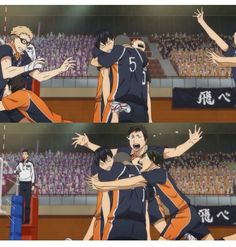 Look how happy they are❤️Poor child Kageyama :D << Tsukki just gets thrown out of the frame like holy shit