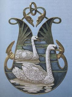 Swans Pendant - Gold And Enamel By Rene Lalique