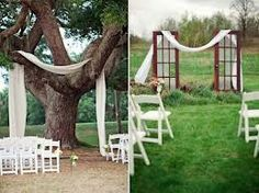 sheer white fabric will hang in the trees like this over your food stations which will have shiny black linens