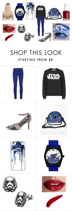 """R2-D2/Star Wars"" by alliephil ❤ liked on Polyvore featuring M Missoni, Topshop, Olsenhaus, R2, Essie, TheBalm and Extension Professional"