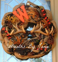 Hey, I found this really awesome Etsy listing at http://www.etsy.com/listing/165361711/hunter-wreath-fall-hunter-wreath-deer