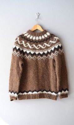 """Lopapeysa in classic Gefjun pattern (by Istex). Inaccurately listed as Dunwoody fair isle sweater"""". Fair Isle Knitting Patterns, Fair Isle Pattern, Knit Patterns, Icelandic Sweaters, Wool Sweaters, Knitting For Kids, Hand Knitting, Elbow Patch Sweater, Elbow Patches"""