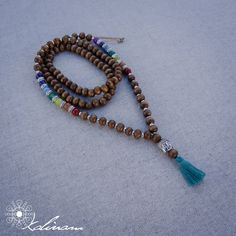 Chakra Mala Necklace | 108 Prayer Beads | Japa Mala | Wood Mala | Buddhist Mala | Tassel Necklace | Yoga Necklace |  Meditation Necklace by KalinamArte on Etsy