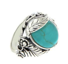 Solid Sterling Silver Turquoise Leaf Ring»R116