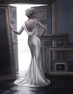 charmeuse column wedding dress | Silk Charmeuse dramatic draped Neckline Sheath Wedding Dress - Canada ...