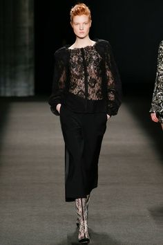 Monique Lhuillier | Fall 2014 - My type of black from head to toe. Lace with skin. Beautiful. Culottes. Stunning evening wear separates.