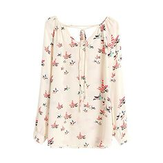 Fedi Apparel Casual Lady Womens Vintage Style Chiffon Floral Print Blouse Vneck Shirts -- You can find more details by visiting the image link.