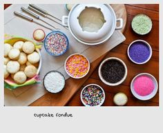 Cupcake Fondue! Such a super awesome idea, with mini cupcakes and frosting and tons of sprinkles. Yum! We should have a fondue party @Leah Corley and @Sara Comer
