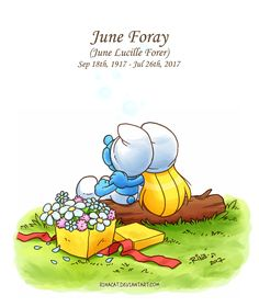A little tribute for the late June Foray who voiced Jokey Smurf in the cartoon series. Who also voiced Magica de Spell, Granny from Looney Tunes and Roc. Classic Cartoon Characters, Classic Cartoons, June Foray, Smurf Village, Baby Animal Drawings, Smurfette, Brownie Points, Artist Brush, I Really Love You