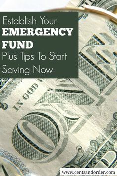 No amount is too small to start your emergency fund. Plus find tips on how to cut expenses and start saving money.   Cents and Order