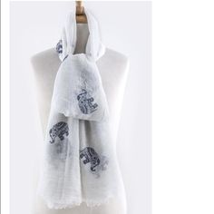 """NWT White Elephant Scarf Elephant motif printed scarf. White with navy print. 2nd photo is just to show for print. 32""""W x 70""""L. 100% polyester. Accessories Scarves & Wraps"""