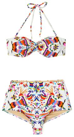colorful and bright vintage style bikini #swimsuit #summer