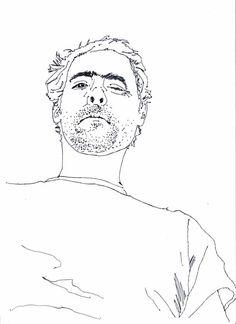 Desenho de auto retrato a caneta