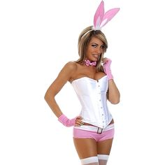 5pc pink bunny tuxedo costume ($66) ❤ liked on Polyvore featuring costumes, pink, pink costume, white tuxedo, bunny halloween costume, pink halloween costumes and white halloween costumes