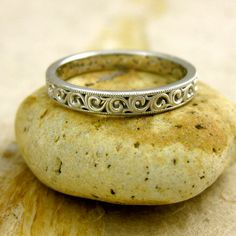 Hand Made Floral Patterned Wedding Ring in 14K White Gold with Scrolls and Antiquing on Edges $595.00