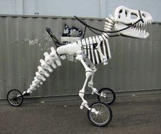 Creative tricycle designed to look like a giant skeleton of a T-Rex dinosaur… Giant Skeleton, Dinosaur Skeleton, Burning Man 2014, Bike Style, Geek Gifts, Custom T, Tricycle, T Rex, Burns