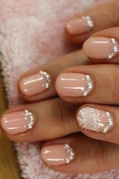 Weddbook ♥ One nail different color trend. Creative and unique wedding nail design. Lace bridal nails with crystals (via cute polish) - French bridal nail designs. Wedding Manicure, Wedding Nails Design, Wedding Designs, Hair And Nails, My Nails, Pink Nails, Blush Nails, Cheetah Nails, Pink Manicure