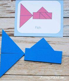 Ocean Animals Tangram Cards