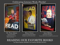Check out these fun literacy posters featuring Indian River County School District leaders with their favorite books.