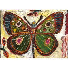 folk+art+butterflies | Green Butterfly by Jill Mayberg