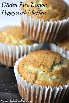 Healthy and delicious Gluten Free Lemon Poppyseed Muffin Recipe. Perfect on-the-go breakfast or snack.