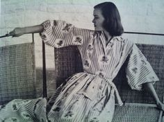'Stripes and Roses, first fabric design Pat Albeck sold to Horrockses, housecoat designed by Betty Newmarch Textile Design, Fabric Design, Best Of Italy, Textile Museum, Housecoat, Royal College Of Art, Lucky Girl, 1950s, Cool Designs