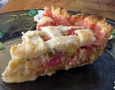 This is the Best Rhubarb Pie ever - I tried it tonight 4cups rhubarb 2 eggs 1/2 c white sugar 1/2 c brown sugar pinch of salt juice of 1/2 lemon 1/2 tsp vanilla 450 for 15min, 350 25-35min