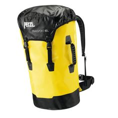 PETZL TRANSPORT BAG - 45 LITRE The TRANSPORT is a durable large-capacity pack. Its padded shoulder straps and waist belt are extremely comfortable during carriage. The materials now used are PVC-free. Camping And Hiking, Hiking Gear, Tent Camping, Camping Gear, Camping Stuff, Story Starter, Best Hiking Backpacks, Rucksack Backpack, Black N Yellow