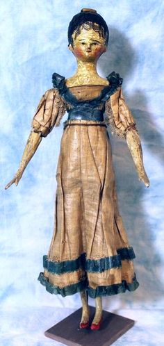 1830 EARLY 13.5 Inches Antique Peg-Wooden Grodnertal Doll. Tuck Comb and Painted Spit Curls.