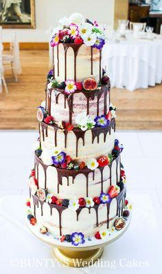 Semi Naked Drip Cake by Bunty's Wedding Cakes - http://cakesdecor.com/cakes/271404-semi-naked-drip-cake #chocolateweddingcakes