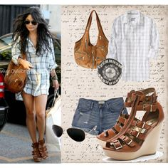 Vanessa Hudgens Style, created by #inez on #polyvore. #fashion #style Current/Elliott Cynthia Vincent