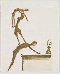 Joseph Beuys Artisten (Kaskade) (Artistes [Cascade]), circa 1954 Pencil and gold bronze on paper