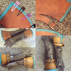 Ciri gloves done! Bottom two photos are the finished product. I liked the color the cuffs came out a lot but I needed it to match the reference photos so I had to paint over it. Here are my steps AFTER dyeing and cutting all the pieces (see previous pic for those steps): 1. I sewed the turquoise trim to the cuffs. It's ill-advised to use pins on leather/faux leather so I used hair clips. You can also use binder clips but these worked best for me on this particular trim. 2. After that I…