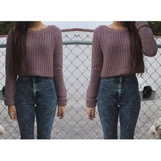 Teen fashion. High waisted jeans and a cropped sweater