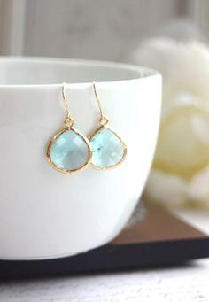 Aquamarine Blue Gold Glass Drop Dangle Earrings. by Marolsha