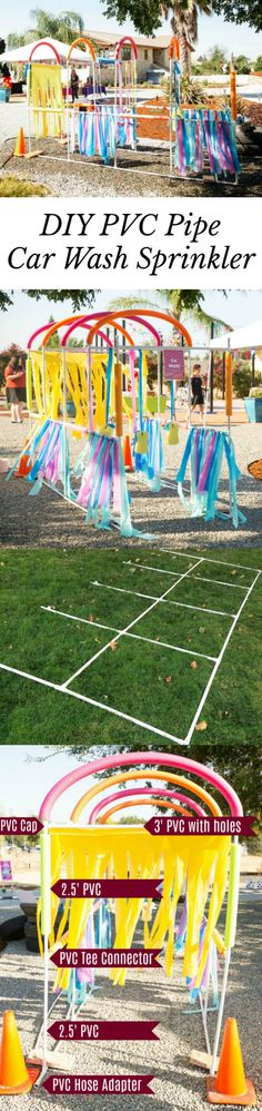Great idea for summer fun! DIY PVC Pipe Car Wash Sprinkler for your Mickey and the Roadster Racers Party Outdoor Party Games, Outdoor Fun, Outside Games, Kids Party Themes, Ideas Party, Pvc Pipe Projects, Sprinkler, Halloween Party Decor, Car Wash
