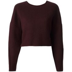 Yang Li American Crew Neck Top ($760) ❤ liked on Polyvore featuring tops, sweaters, crop sweater, shirts, red, brown crop top, brown sweater, red top, crew neck sweaters and brown shirt