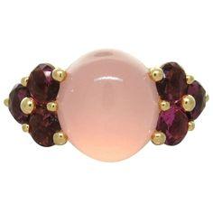 Pomellato Luna Pink Quartz Red Tourmaline Gold Ring