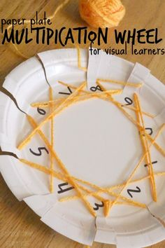 Learn multiplication facts with our Paper Plate Multiplication Wheel-- great for visual and kinesthetic learners! Multiplication Wheel, Multiplication Strategies, Math Fractions, Math Activities For Kids, Fun Math, Math Games, Math Math, Maths, Educational Activities