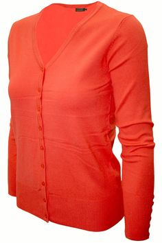 Cielo V-Neck Color Cardigan Orange SW205 Plus Size - 6 Pcs