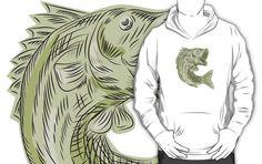 Largemouth Bass Fish Etching by patrimonio