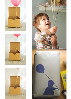 Balloon in a Box Birthday Invitation, totally illogical unless you hand deliver them all but cool idea!