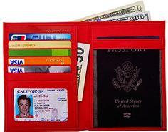 Travelambo RFID Blocking Leather Passport Holder  Travel Wallet red >>> Visit the image link more details.