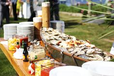 Our New England Raw Bar, Featuring Oysters & Little Necks #MorinsCatering #DeliciousFood #RawBar
