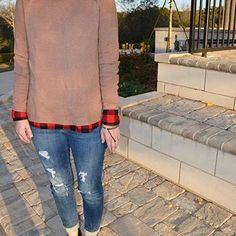 It's finally feeling like fall, y'all.   #style #fashion #blog #fall #fallfashion #checked #sweater #oldnavy #jeans #distressed #comfy #cute #athens #ga #godawgs #blogger #thanksgiving #friday #tgif